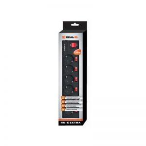 Сетевой фильтр питания REAL-EL RS-6 EXTRA 3m, black (EL122300002)