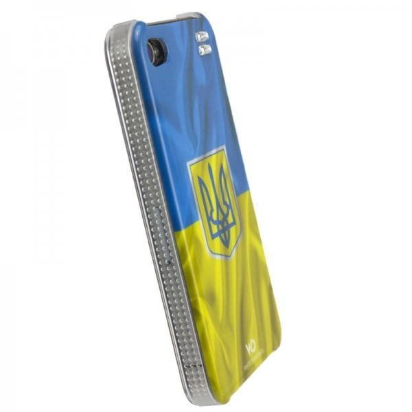 Чехол с кристаллами для iPhone 4/4S White Diamonds Flag Ukraine (1110FLA07) 1