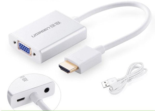 Переходник-конвертер HDMI to VGA Ugreen, доп. питание+аудио, 40247